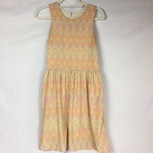 UNDER SKIES Yellow Orange Pattern Racerback Dress